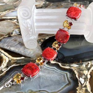 Gem Insider Coral and Gemstone Toggle Bracelet